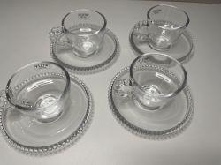 Kit com 4 Xícaras de café e Pires Linha Pearl ref 27899