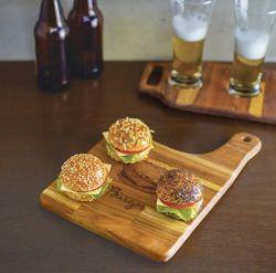 Tábua de Madeira Teca para Hamburger ref 13218