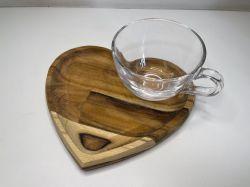 Xícara de Chá com Prato Coração de Madeira Teca ref 13214