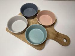 Tábua em Bambu com 4 bowls